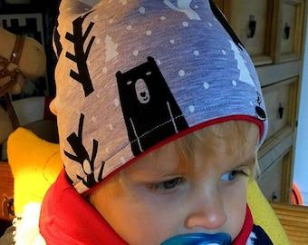 Kids hat, tube scarf, , organic baby set, cotton, kids jersey hat, gift set, printed cotton
