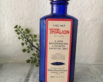 Thialion Cobalt Blue Bottle with lid, Laxative salt, Vintage Medicine, Medical oddities, Vintage advertising,
