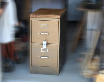 painted 2 drawer letter size metal filing cabinet w wood top industrial office
