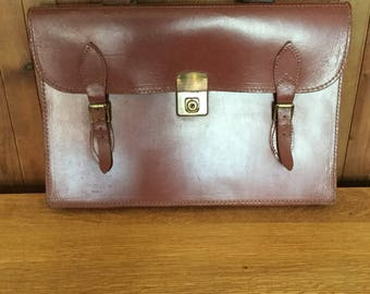 Vintage Retro 1950's Tan Leather Satchel Briefcase by Blackbird, with QE2 Coronation Day newspapers for the Steam Punk