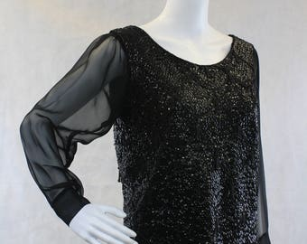 Black Mermaid Scale Vintage Black Sequin and Beaded Fringe Sweater Blouse Chiffon Sleeves Zippered Back Size Medium Evening Blouse Top