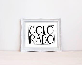 "Colorado State Print || 8""x10"" Colorado Wall Art || Colorado Gift || State Wall Art Sign, State Prints, State Wall Decor (DIGITAL PRODUCT)"