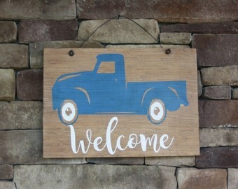 Vintage truck welcome wood sign