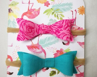 Baby Headband Bow - Hot Pink Floral and Aqua - Set of Two