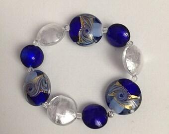 Murano Glass bracelet, Cobalt, Gold and Silver
