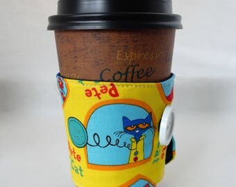 Yellow Pete the Cat Coffee Sleeve - Coffee Cozy - Reusable - Fabric