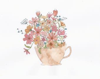 Whimsical Flowers in a Mug