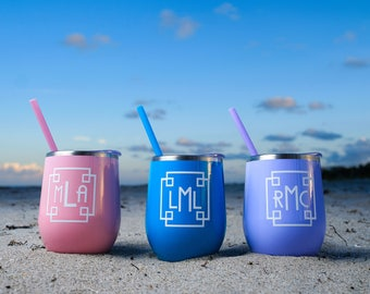 Personalized Powder Coated Stainless Steel Wine Tumbler w/ Lid & Straw, Pineapple Wine Tumbler, Flamingo Wine Tumbler, stemless wine tumbler