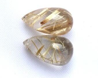 Sale Golden Rutile Quartz Plain Briolette Drops 15.50x9MM, Fine Polished/ Side Drill / Natural Gemstones, for Fine Jewelry / Price By Pair