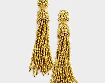 Beaded tassel earrings, bon bon earrings, bonbon earrings, oscar de la renta earrings, tassel earrings