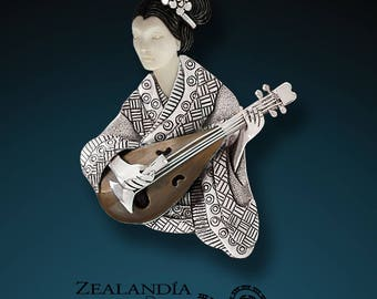 Shamisen Player - Hand Carved Bone, Sterling Silver Pin/Pendant