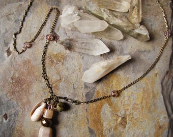cluster necklace - pink vintage beads, brass bell and conch shell - totems of Venus