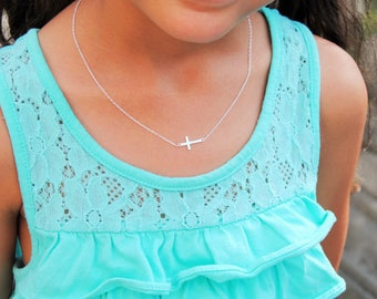 Children's Cross Necklace | Sterling Silver Cross Necklace | Sideways Cross Necklace | Sterling Silver Cross