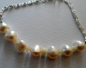 Barouqe pearl and opal bracelet