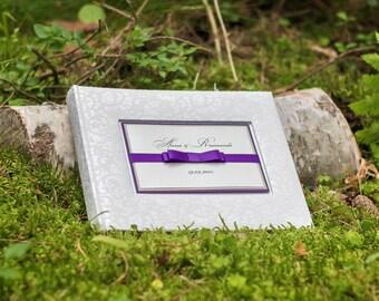 White Patterned Wedding Photo Album - High Quality Wedding Album - Purple Photo Album - Personalized Photo Album - Picture Album - Memories