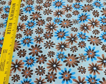 Flower Power-Brown and Blue Flowers Cotton Fabric