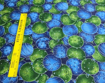 Blue and Green Ornaments Cotton Fabric