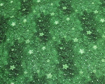 Old World Christmas-Green Stars Cotton Fabric by SPX Fabrics