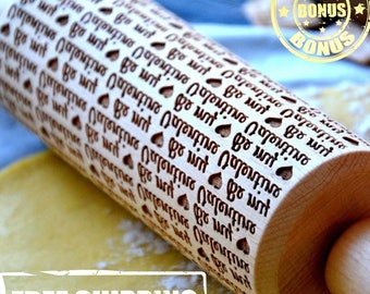 Engraved Rolling Pin 4 Size Wooden rollingpin Be My Valentine Gift For Lovers Cool Engraved Pattern Handmade Baking Cooking Idea for gift