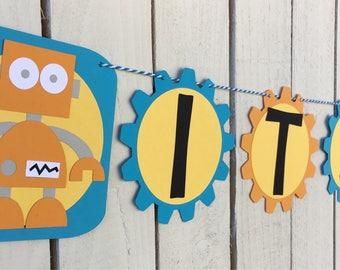 Robot Its A Boy Banner | Robot Banner | Its A Boy | Baby Shower Decorations | Boy Baby Shower Decorations
