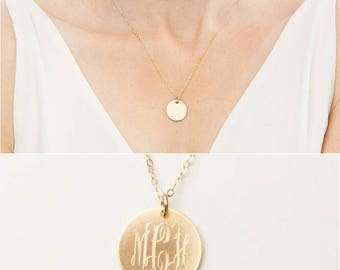 Custom Monogram Necklace-Personalized 5/8 inch Round-Interlocking-Bridesmaids Gift-14k Gold Filled,Rose,Sterling Silver-CG280N_5_8