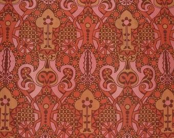 VINTAGE 1960s SANDERSON TEMPO..Art Nouveau cotton..original 1970s cushion pillow fabric..pink brown orange mustard..retro sixties home decor