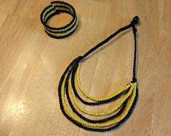 Yellow and Black Hemp Necklace, Black Hemp Necklace, Beaded Necklace, Beaded Bracelet, Necklace Set, Jewelry Set, Tiered Necklace