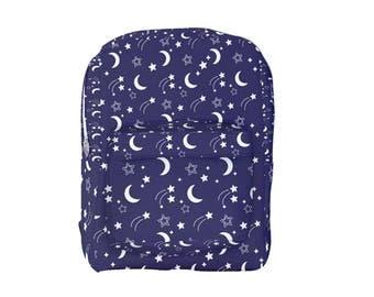 Star Backpack Stars Starry Dark Blue Space Stars  *MTO, Month*