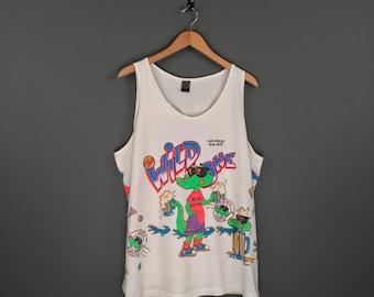 80s The Wild One Rude Dude Al Gator Tank Top T-Shirt. Vintage 80s Neon Lake George New York Radical Alligator Souvenir Beer Party Tee.