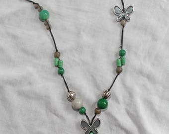 """""""Green and grey"""" Butterfly Necklace"""