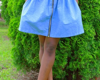 Front zipper Pocket Skirt