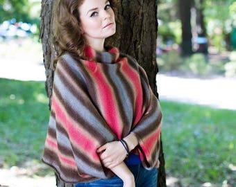 Wool Knitted Poncho|Hand knit Poncho-Transformer|Hand knit poncho|Transformer  Cape| Fashion Knitting|Colored poncho|Fashion Poncho