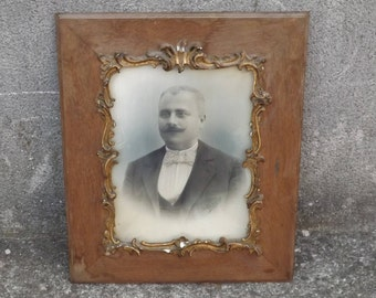 Beautiful Portrait of man with mustache. french antique, drawing, frame, wood dorurre, dore 1903