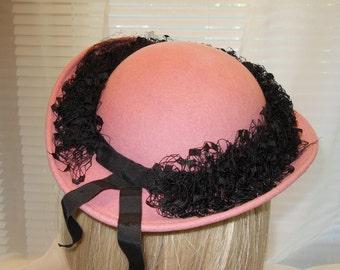 Vintage Bellini Hat Pink Felt Hat Black Veil