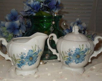 Vintage Porcelain Creamer and Covered Sugar Bowl Blue Flowers Shabby Chic