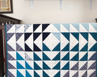 Handmade Baby Quilt, Blue and White, Baby Gift