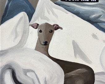 "Italian Greyhound - ""Tuck Me In"" canvas print - 8""x8"" art"