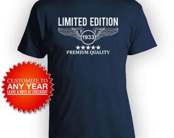 85th Birthday T Shirt Custom Birthday Shirt Bday Present For Him Personalized Birthday TShirt Premium Quality 1933 Birthday Mens Tee - BG452