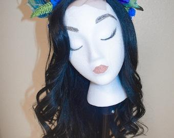 Mickey Ears//Minnie Ears//Mickey Mouse Ears//Minnie Mouse Ears//Hair Accessories//Peacock Themed//Blue//Disney//Flower Crown