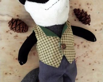 Badger Rag Doll, Woodland Animal Badger in Clothes, Stuffed Animal named Mr Badger