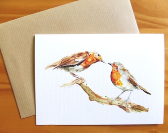 Curious Robins Greetings A6 Greetings card with Craft Paper Envelope, Robins card, Robin card,Made from the Original Watercolour Painting