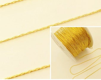 5M Gold Plated 0.8mm Beading Chain Jewellery Making