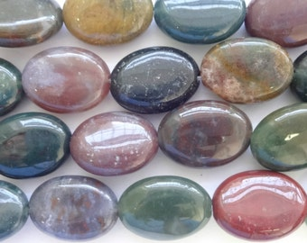 Natural Indian Agate 14x10mm Flat Oval Gemstone Loose Beads