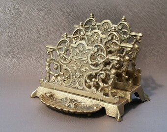 Solid Brass Letter Rack with front StorageTray for Paper Clips, or Stamps ready for use