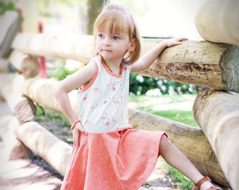 Girls dress with flamingos - summer clothes for girls - tween girls dress - toddler girls summer clothes - girls dress for twirling