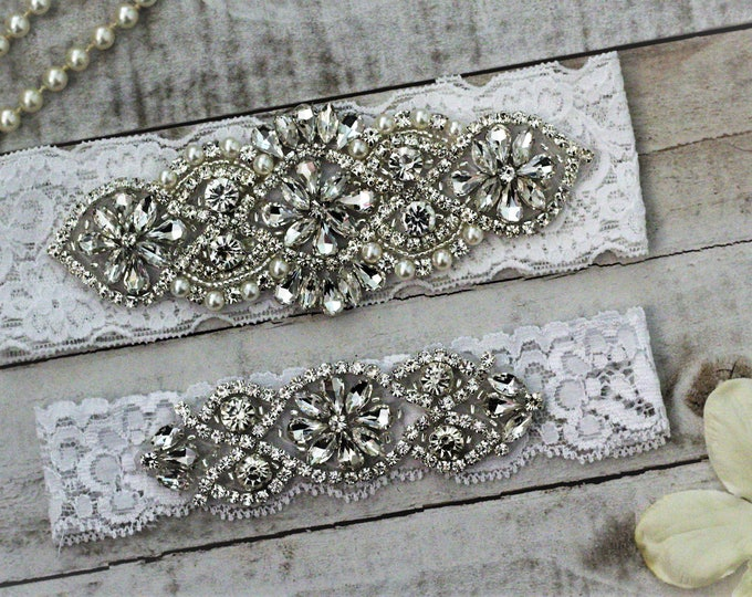 White Wedding Garter Set NO SLIP grip vintage rhinestones, pearl and rhinestone garter set