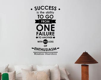 Success Is The Ability Winston Churchill Inspirational Quote Wall Decal Vinyl Lettering Business Saying Sticker Art Motivational Decor hq32