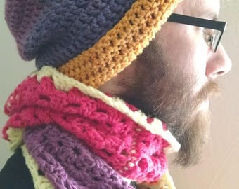 "Crochet ""Sunset"" Scarf & Hat set"