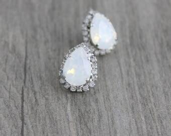 Opal stud earrings, Bridal earrings, White opal earrings, Bridal jewelry, Teardrop earrings, Swarovski earrings, Bridesmaid earrings