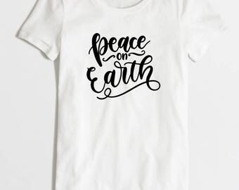 Iron-on Peace on Earth Decal // Winter // Christmas